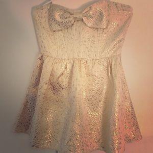 FOREVER 21 Strapless MINI DRESS Metallic Gold M